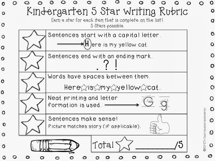 writing rubric for kindergarten .