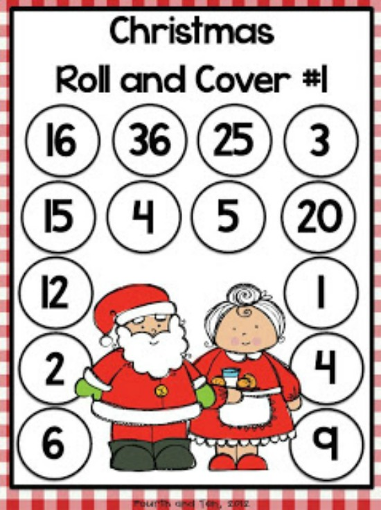 "Teach Junkie: 40 Roll and Cover ""Bump"" Cool Math Games - Christmas Multiplication"