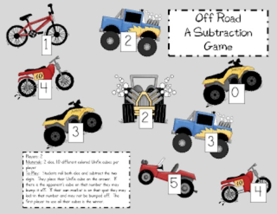 "Teach Junkie: 40 Roll and Cover ""Bump"" Cool Math Games - Off Roading Subtraction"