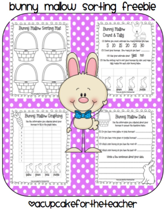 Teach Junkie: 16 Spring and Easter Math Ideas {Free Download} - Bunny Mallow Sorting