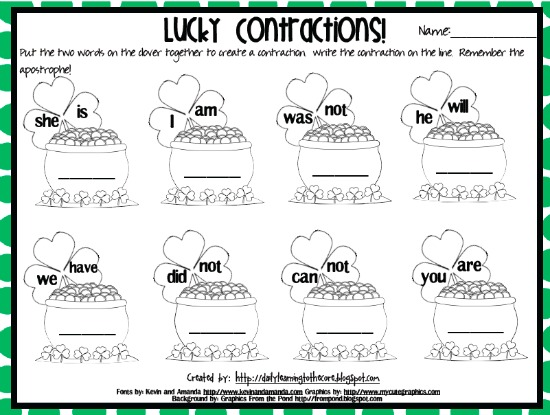 Teach Junkie: 4 St. Patrick's Day Language Arts {Free Download} - Lucky Contractions