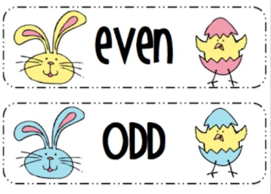 Teach Junkie: 16 Spring and Easter Math Ideas {Free Download} - Numbers Even and Odd Sort