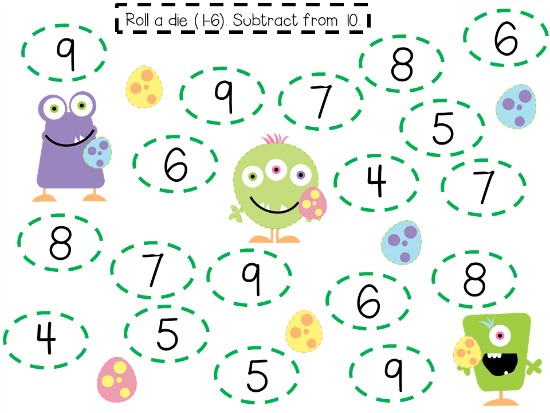 "Teach Junkie: 40 Roll and Cover ""Bump"" Cool Math Games - Easter Monsters"