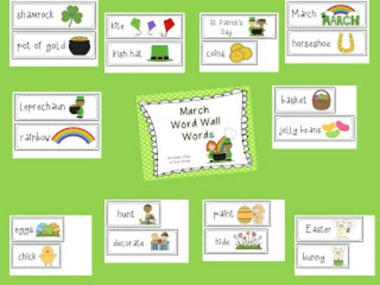 Teach Junkie: 4 St. Patrick's Day Language Arts {Free Download} - March Word Wall Words