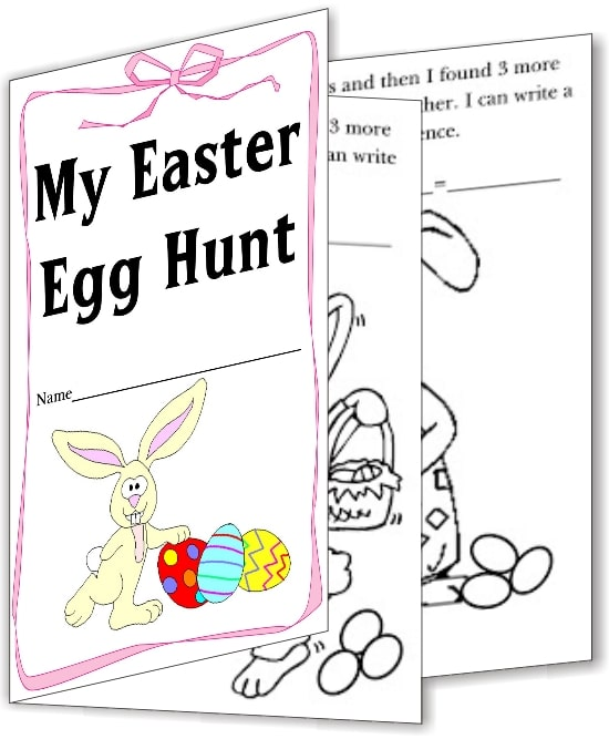 Teach Junkie: 16 Spring and Easter Math Ideas {Free Download} - Easter Addition Book
