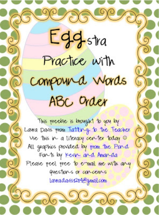 Teach Junkie: 3 Spring Alphabetical Order Downloads for First Grade - Eggstra Compound Words
