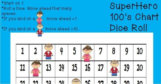 Printable Games {Teacher Created} on Teach Junkie - Superhero Hundreds Chart Game {Free Printable}
