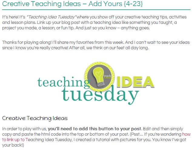 Step 1. Visit the Teaching Idea Tuesday Post