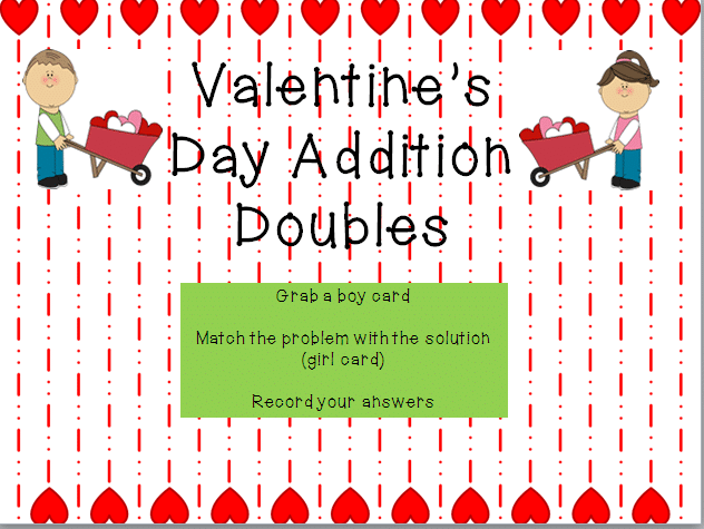 Valentine's Day Addition Doubles Game {printable} - Teach Junkie