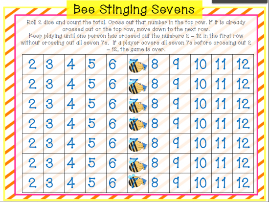 Printable Games {Teacher Created} on Teach Junkie - Spring Addition Game {Free Download} Bee Stinging Sevens