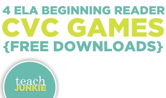 Teach Junkie: 4 ELA Beginning Reader CVC Games {Free Download}