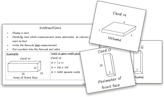 Teach Junkie: 3 Free Math Activities for Area, Perimeter, Volume - Formula Cards