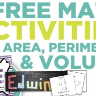 3 Free Math Activities for Area, Perimeter, Volume