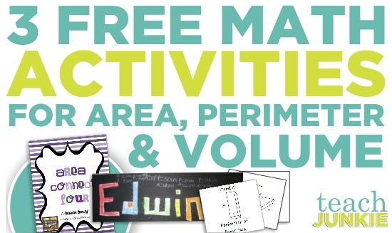 Teach Junkie: 3 Free Math Activities for Area, Perimeter, Volume