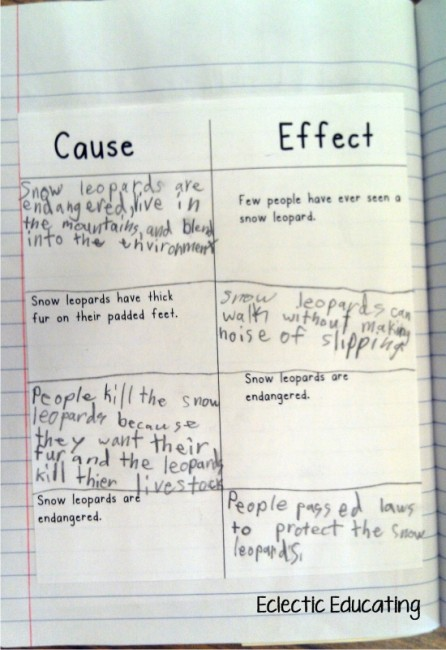 Teach Junkie: 12 Easy Cause and Effect Activities and Worksheets -  Reader's Notebook Entry Organizer