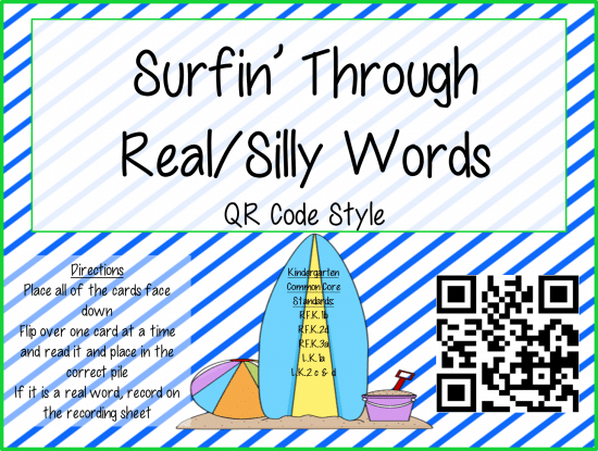 Teach Junkie: Real/Silly Words Sort {QR Code}