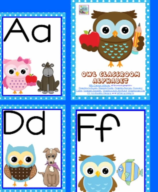 Teach Junkie: 5 Free Printable Word Wall Alphabet Cards - Owl Classroom Alphabet