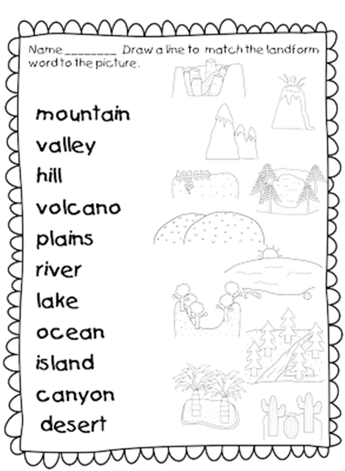 Worksheets Landforms Worksheet 21 landforms for kids activities and lesson plans teach junkie worksheet set first grade