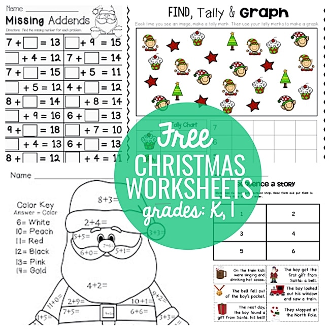 23 Festive Christmas Worksheets for K & 1st - Teach Junkie