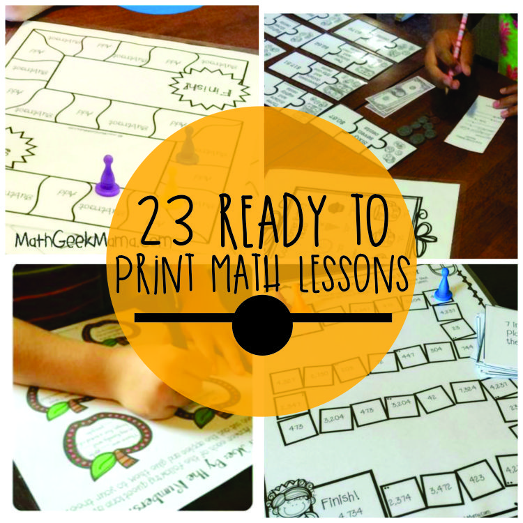 23 Ready to Print Math Lessons (Grades 1-6)
