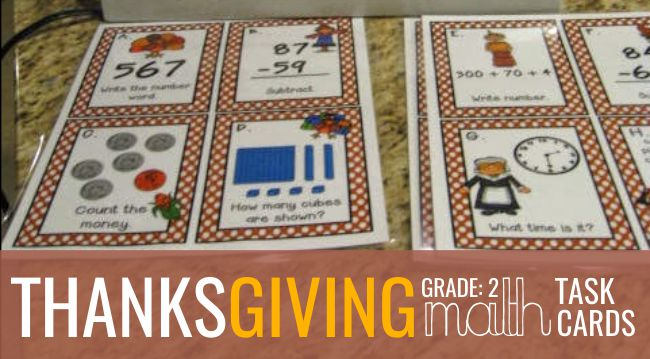 2nd Grade Thanksgiving Math Task Cards - Teach Junkie