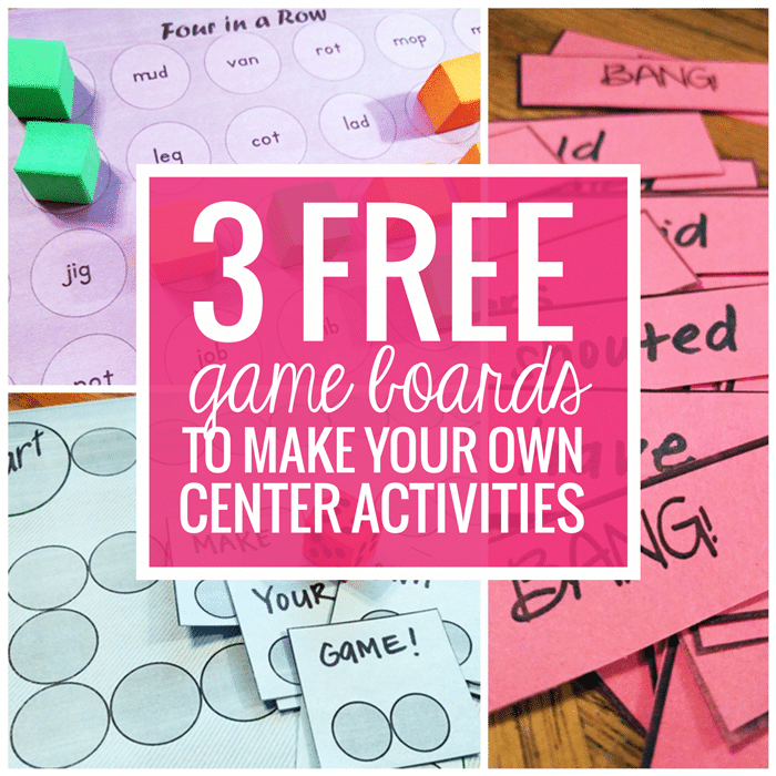 3 Free Game Boards to Make Your Own Center Activities