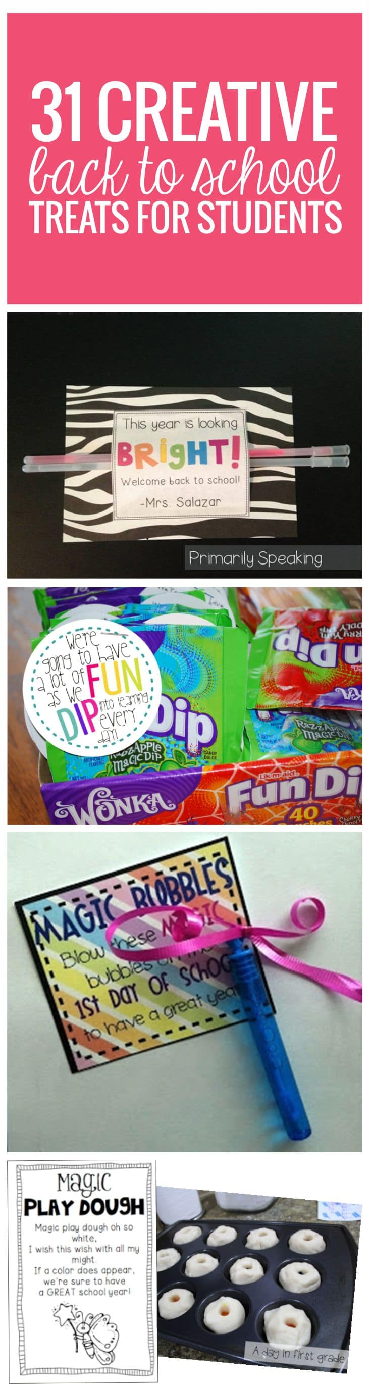 31 Creative Back to School Treats for Students - comes with free printables - love it