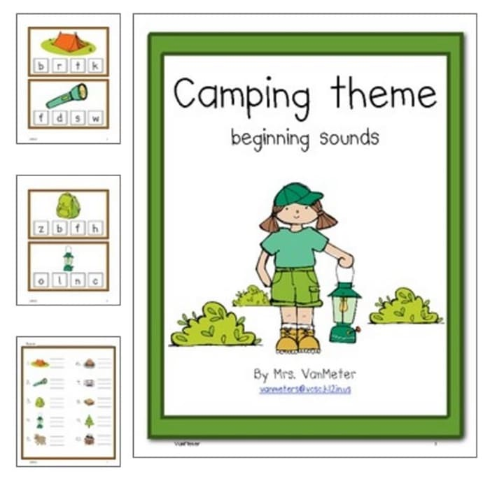 31 Easy and Fun Camping Theme Ideas and Activities - campfire beginning sounds clip activity printable - Teach Junkie