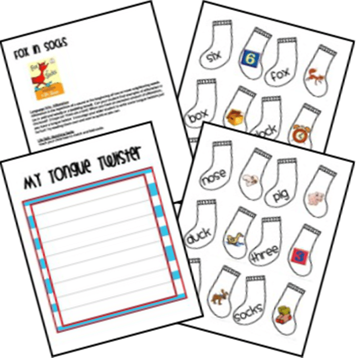 31 Ideas for Read Across America and Dr. Seuss - Fox in Socks Unit Ideas and Printables