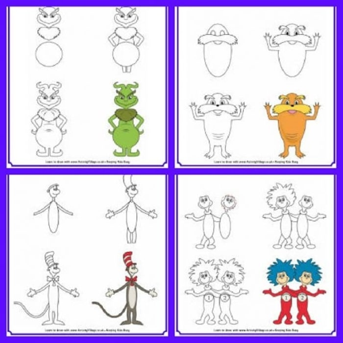 31 Ideas for Read Across America and Dr. Seuss - Learn to Draw Dr Seuss Characters