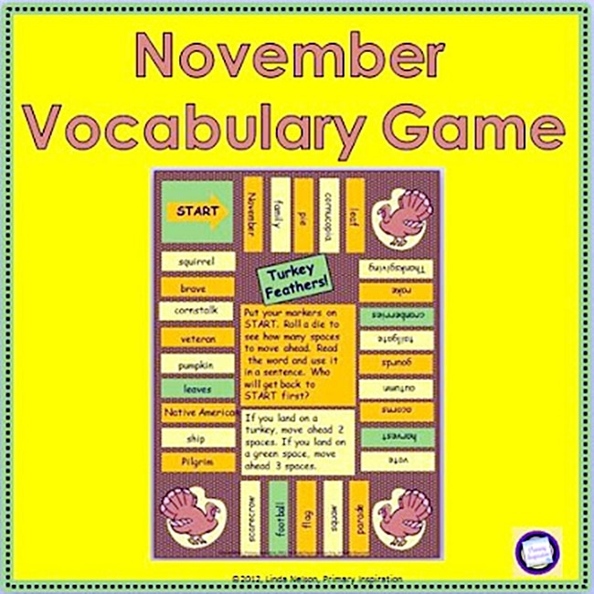54 Fantastic Fall Thanksgiving Freebie - November Vocabulary Game - Teach Junkie