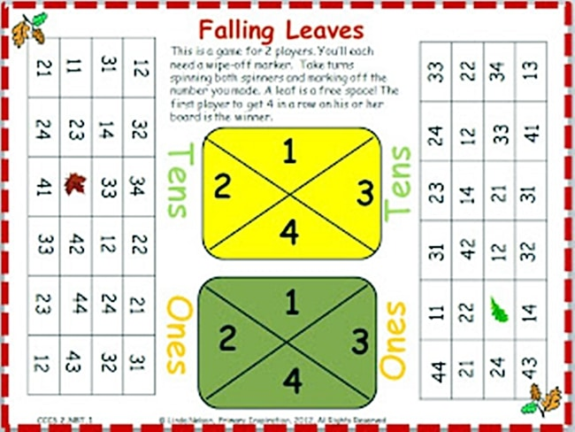 54 Fantastic Fall Thanksgiving Freebie - Place Value Falling Leaves Cover Up - Teach Junkie