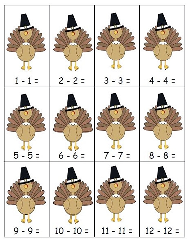 54 Fantastic Fall Thanksgiving Freebie - Subtraction Doubles Center Game - Teach Junkie