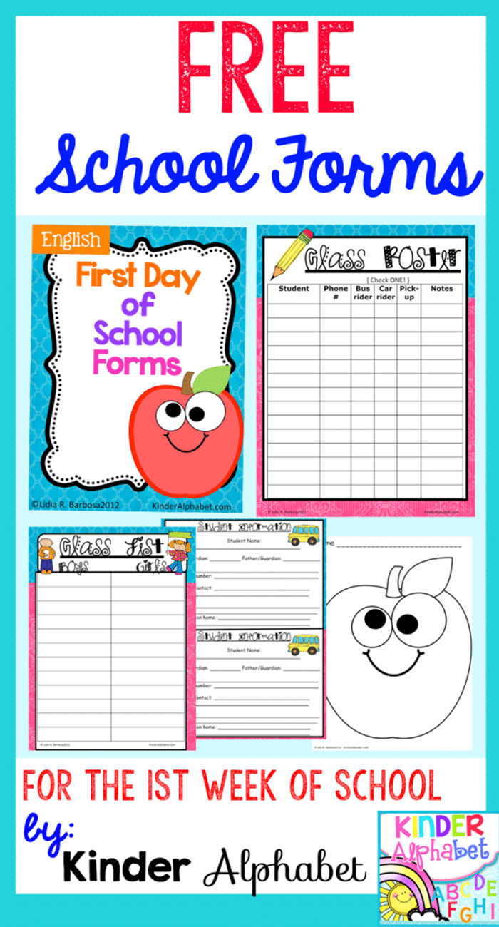 6 Back to School Freebies - School Forms