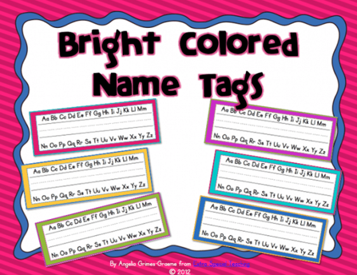 6 Free Brightly Colored Name Tags