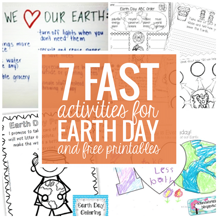 7 Fast Activities for Earth Day and Free Printables - Teach Junkie