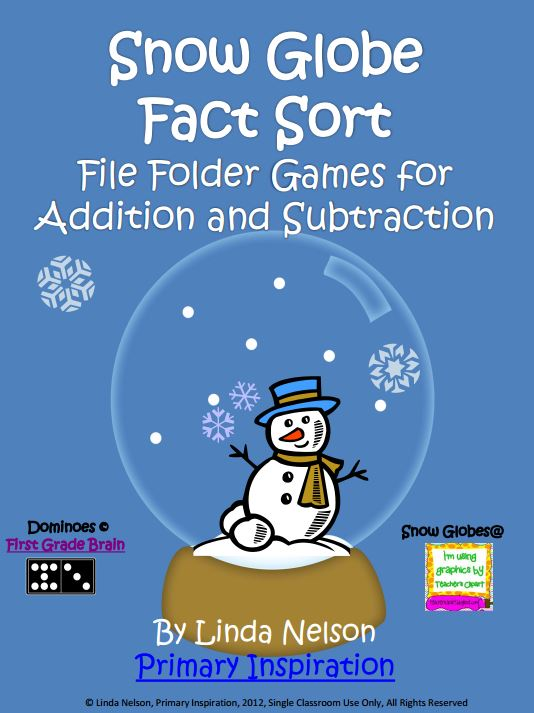 Addition and Subtraction Fact Sort {Snow Globes} - Teach Junkie