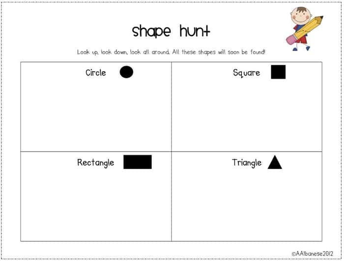 All About 2D Shapes! Go on a shape hunt freebie