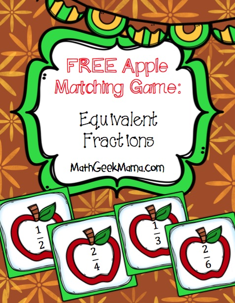 Apples Matching Equivalent Fractions - Teach Junkie