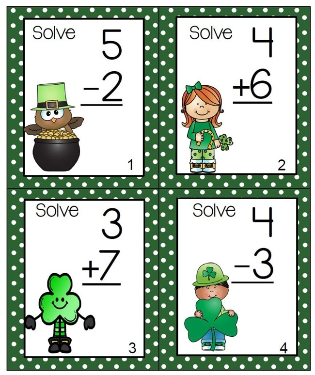 Teaching Addition - March Task Cards