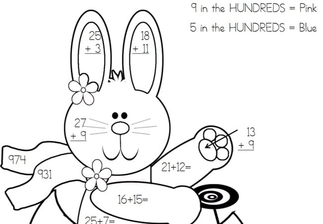 Place Value Worksheets Easter Bunny Color By Code - Teach Junkie