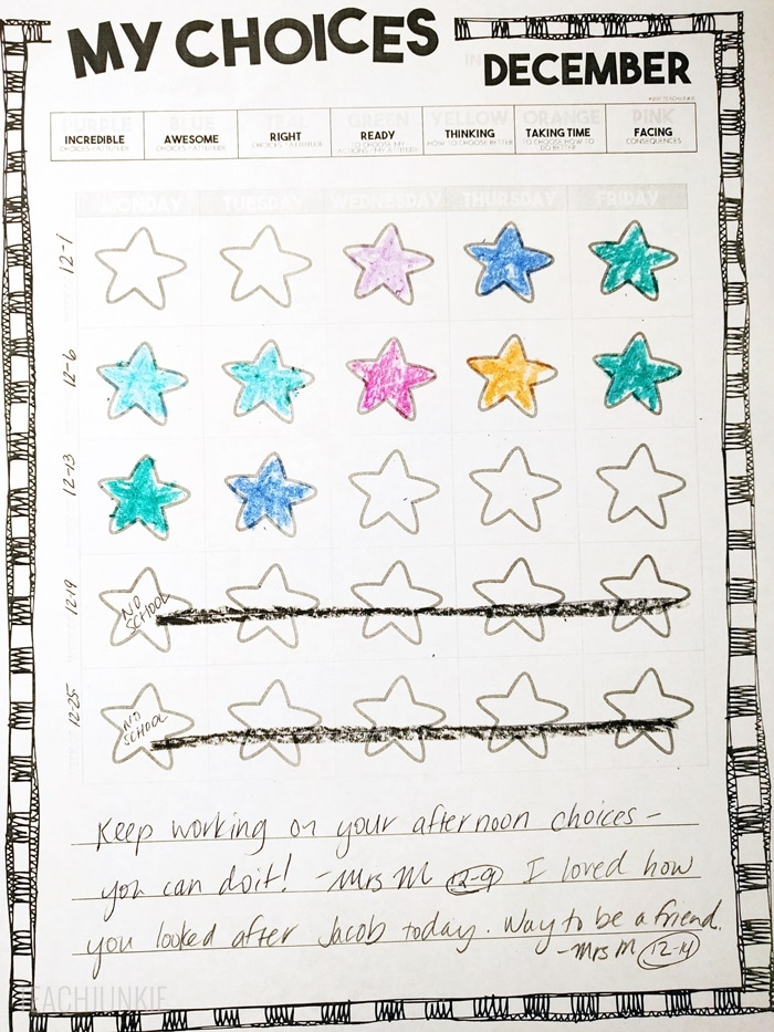 Classroom Management Clip Chart Recording Sheet Calendar for Documentation