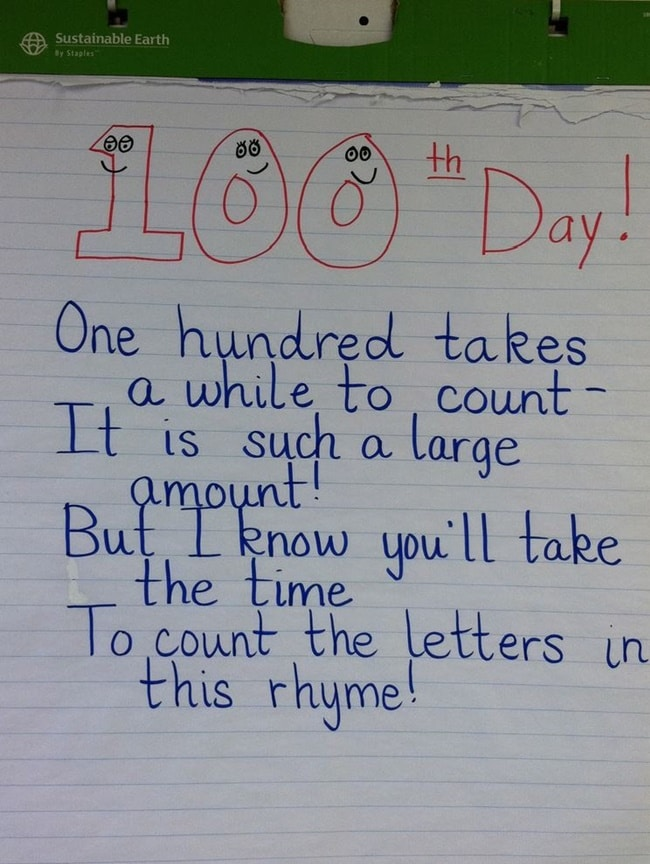 45 Best 100th Day of School Resources - Counting Letters Rhyme - Teach Junkie