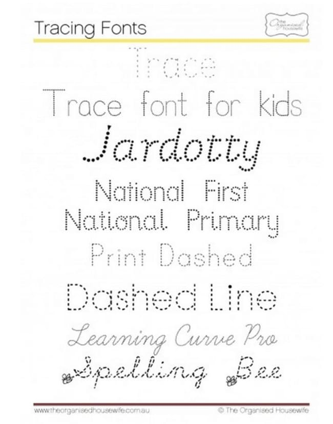 Trace Cursive Font 6 Free Tracing Fonts For Kids
