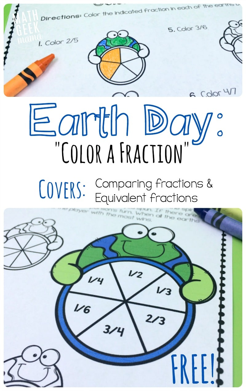 Free Earth Day Fractions Printable