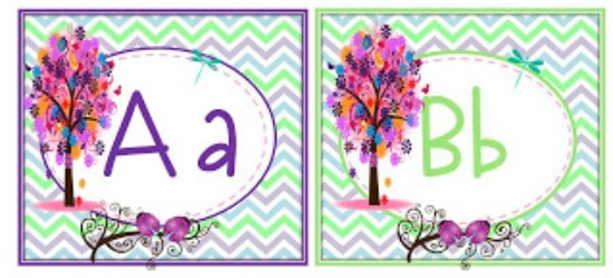 Teach Junkie: 5 Free Printable Word Wall Alphabet Cards - Enchanted Forest Word Wall Headers