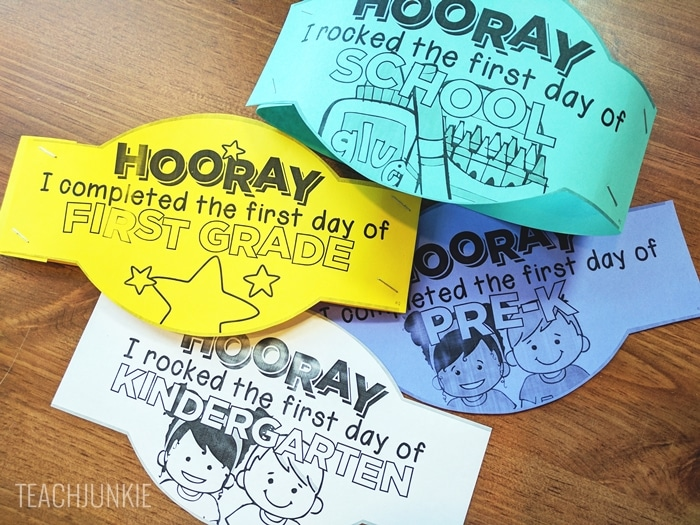 FREE First Day of School Headband Crowns for TK