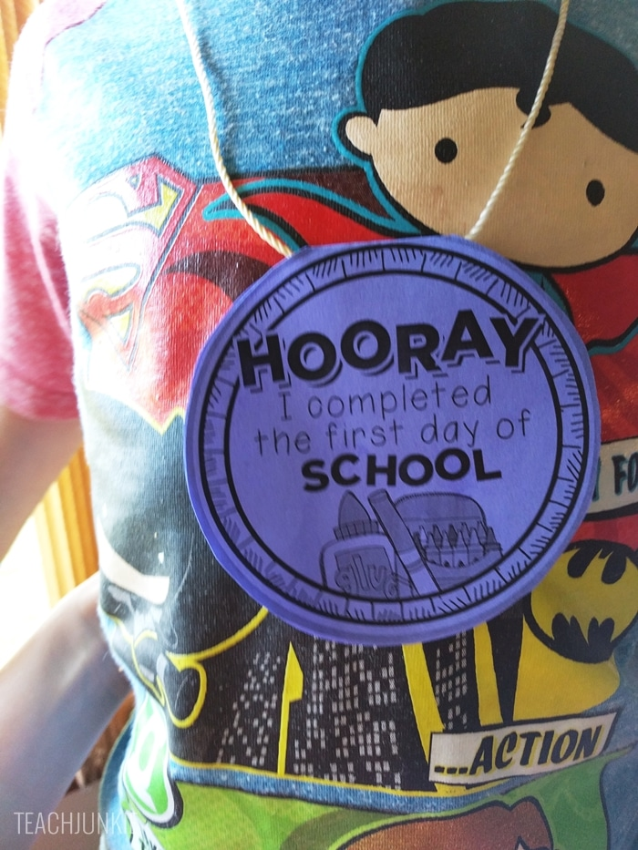 FREE First Day of School Necklaces - they are editable on the back