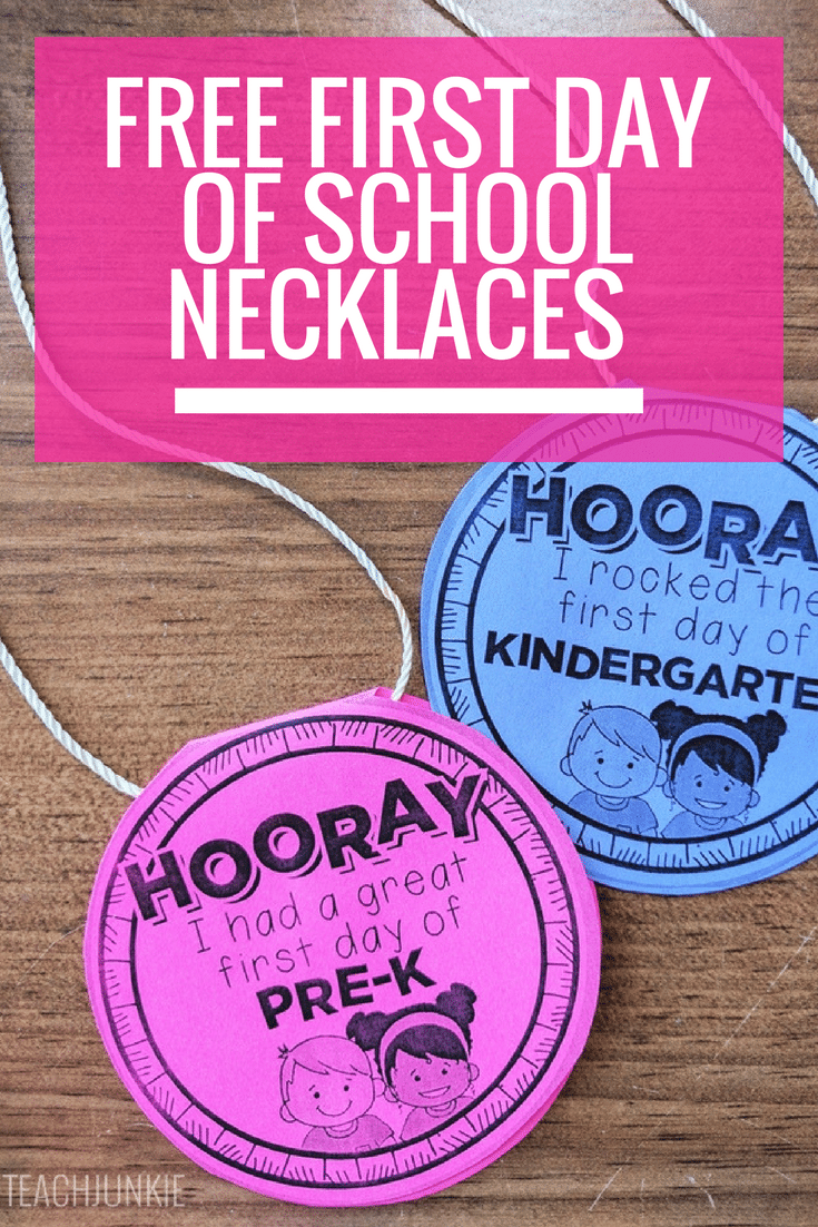 First day of school necklaces free printable