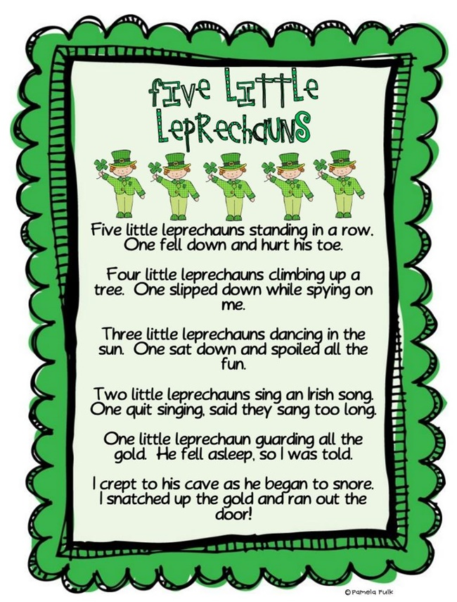 29 Zany St. Patrick's Day Learning Resources - Five Little Leprechauns - Teach Junkie